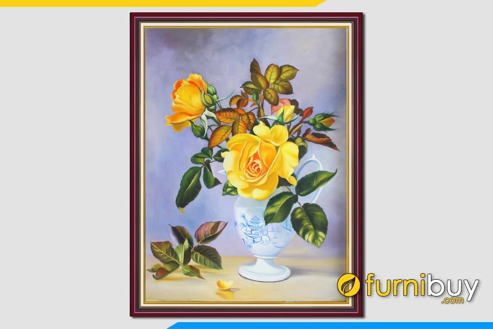 Tranh son dau binh hoa lo hoa hong treo tuong