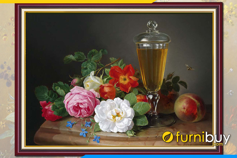 Mau tranh hoa va qua tinh vat dep treo tuong duoc yeu thich