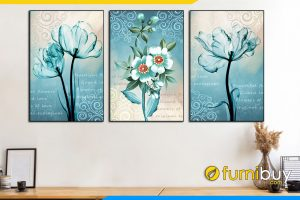 Tranh hoa mau xanh duong canvas tulip