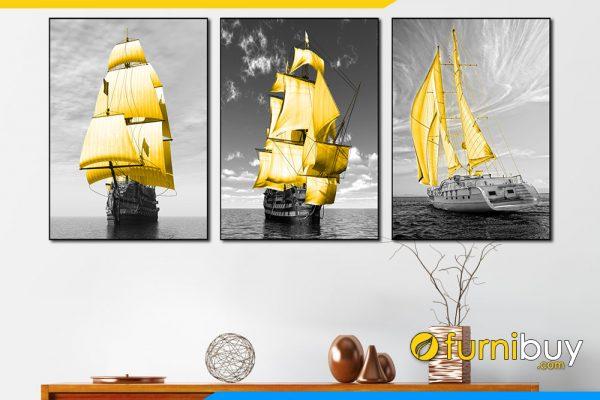 Tranh bo 3 tam thuyen vang treo tuong amia 1855