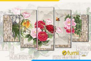 Tranh 5 buc hoa mau don chim en phong thuy menh hoa
