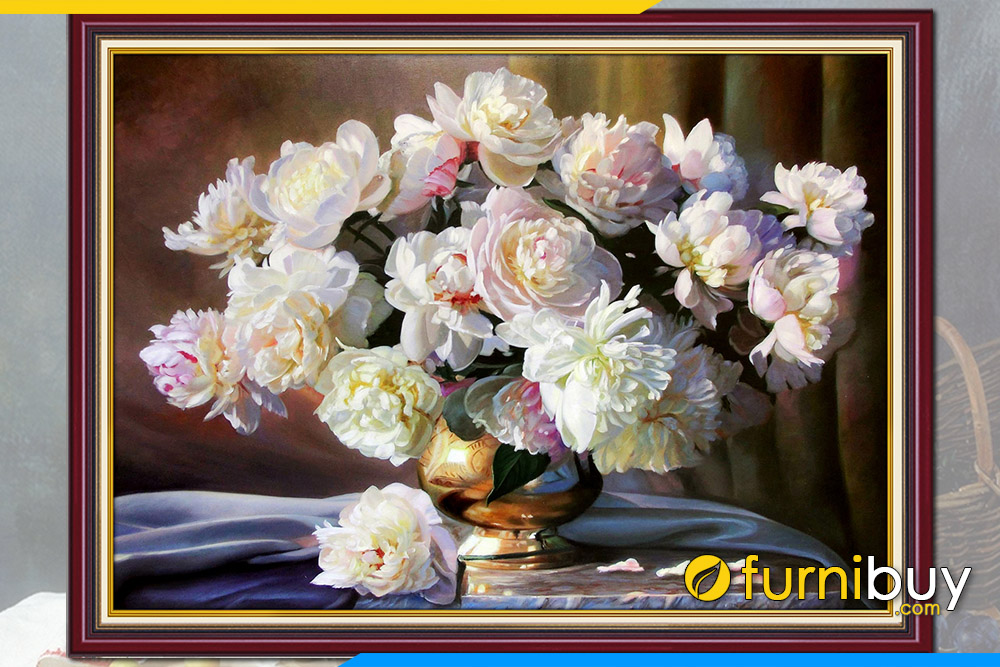 Tranh treo tuong dep binh hoa mau don gia son dau tinh vat
