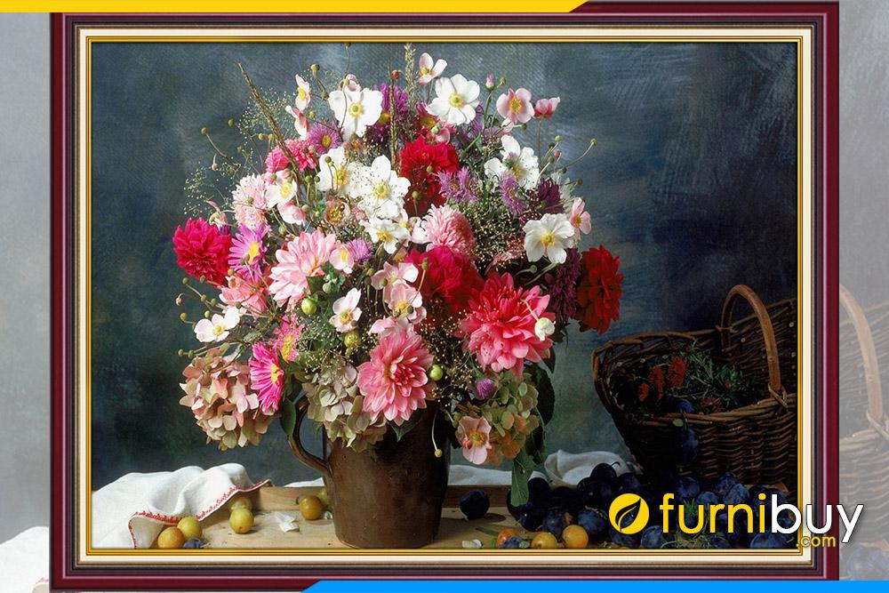 Goi y buc tranh tinh vat binh hoa ve tay