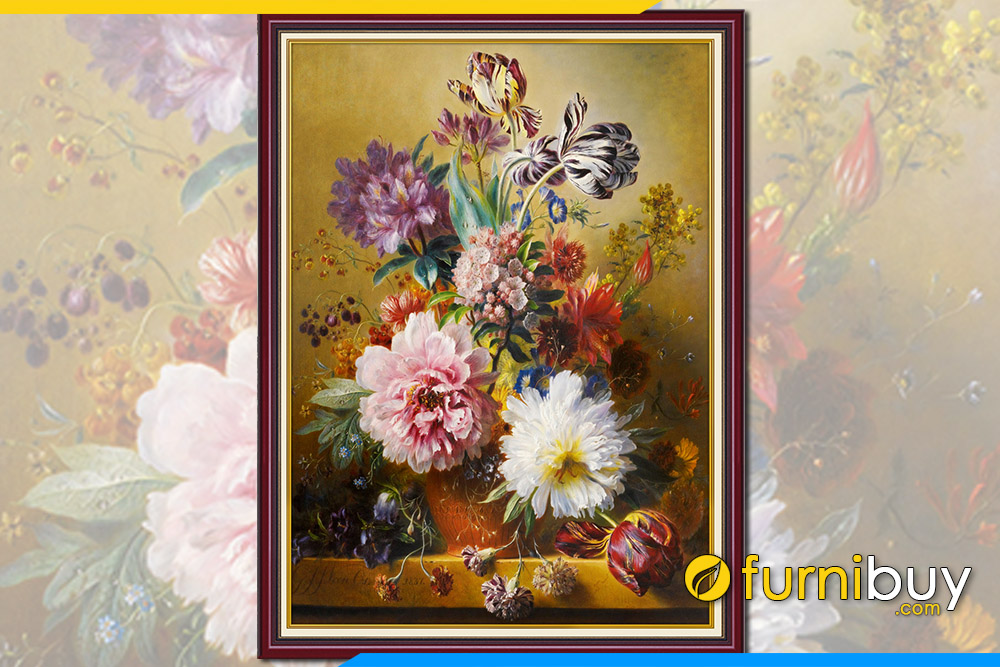 Tranh binh hoa gia son dau tinh vat dep