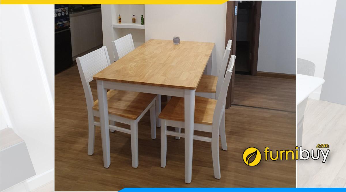 Hình ảnh Bộ bàn ăn 4 ghế gỗ chung cư đẹp nhà cô Ngọc
