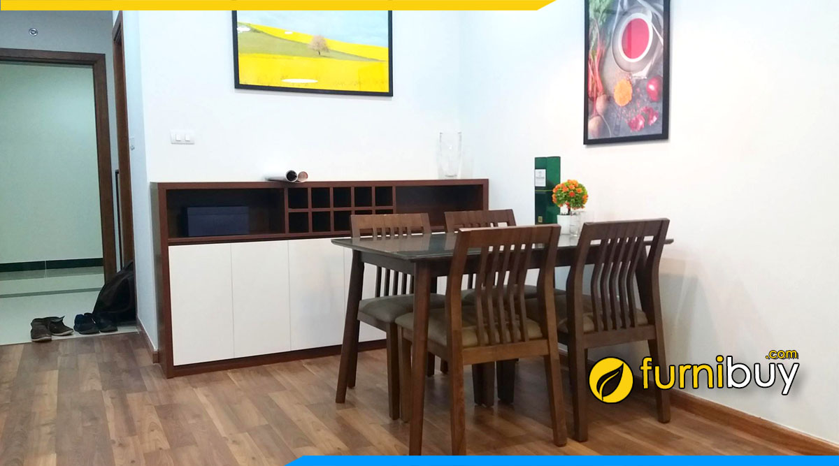 Hình ảnh Bộ bàn ăn 4 ghế gỗ đẹp tại nhà chị Hường