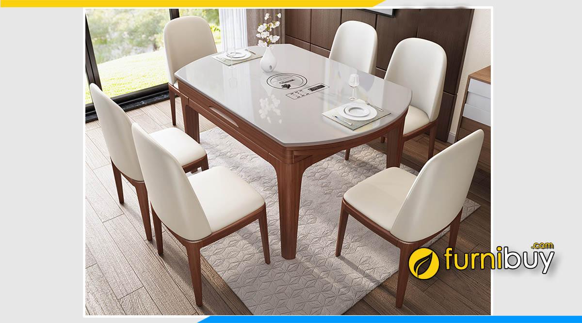 Hình ảnh Bộ bàn ăn 6 ghế thông minh gấp gọn màu trắng đẹp