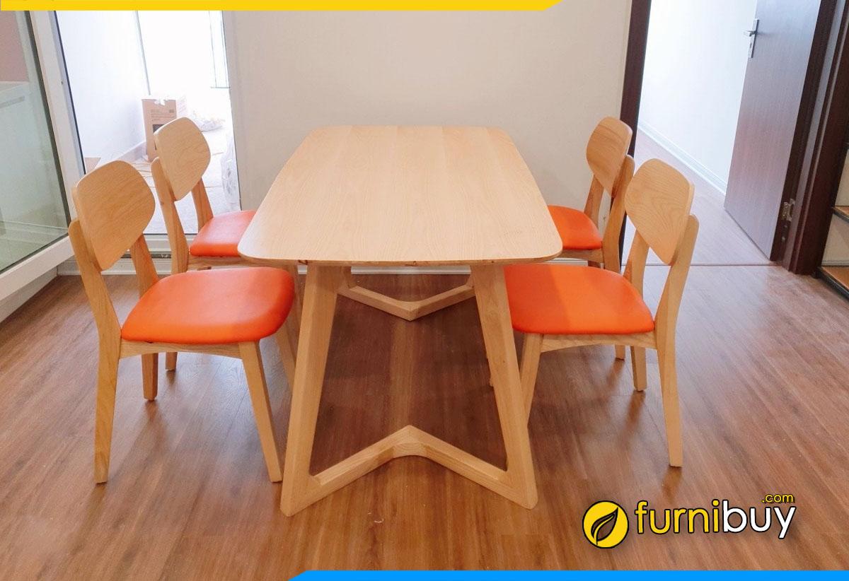 Ảnh bộ bàn ăn gỗ cao su 4 ghế hiện đại