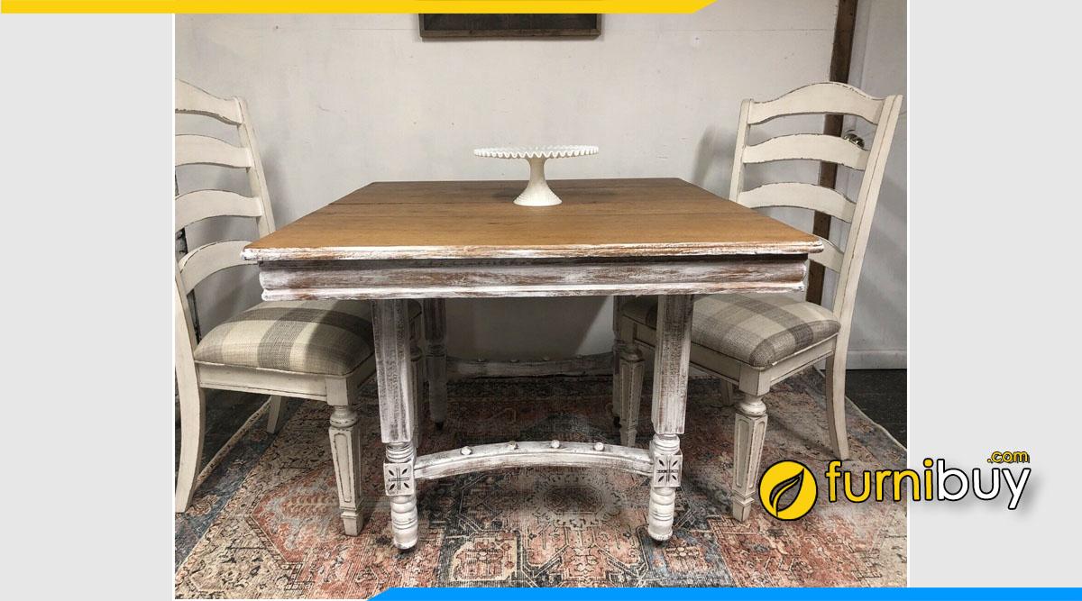 Ảnh bộ bàn ăn gỗ vintage With Leave phong cách Mỹ