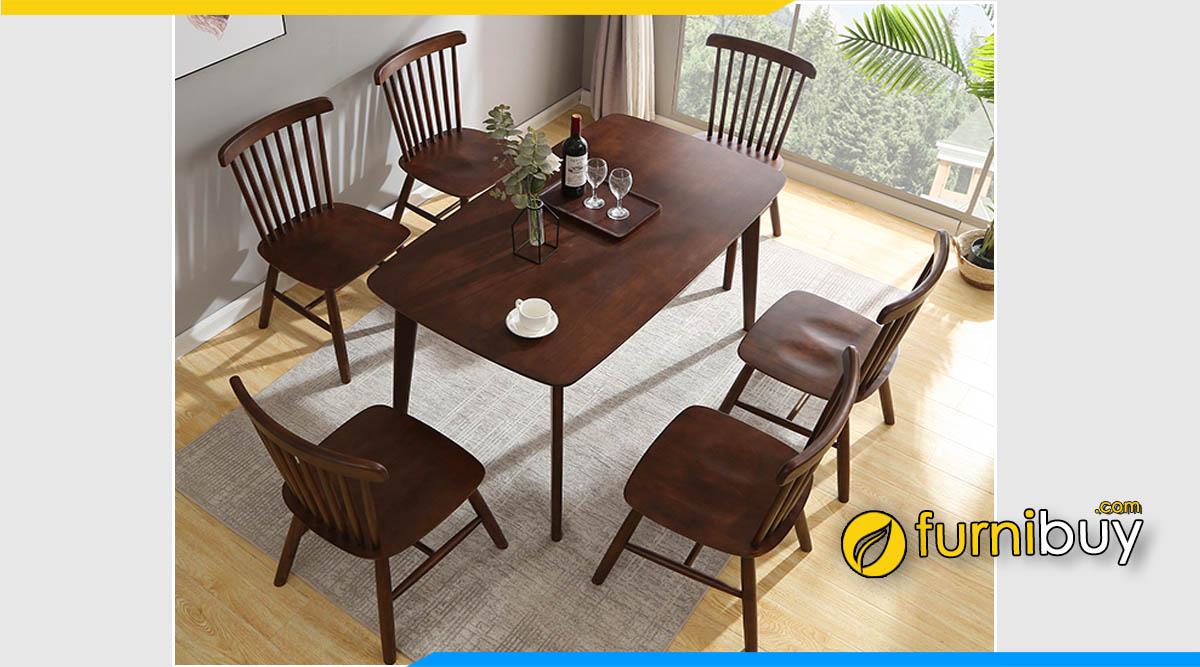 Ảnh Bộ bàn ghế ăn 1m4 gỗ sồi màu óc chó