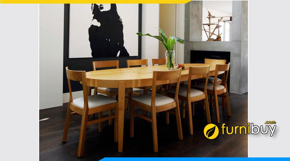 Ảnh bộ bàn ăn 1m8 gỗ sồi đẹp hiện đại