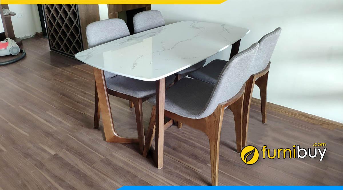 Hình ảnh Bộ bàn ăn 4 chỗ gỗ sồi mặt đá Concorde