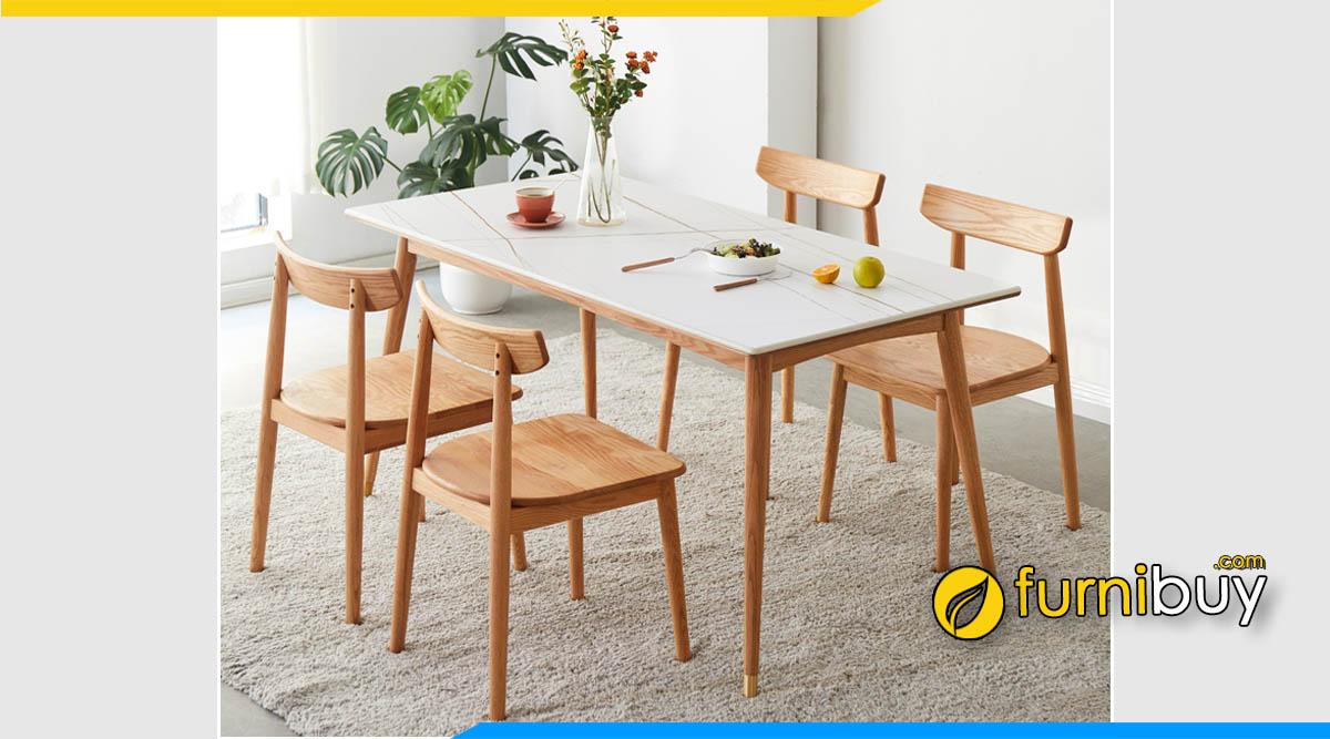 Ảnh bộ bàn ăn 4 ghế kích thước 1m2
