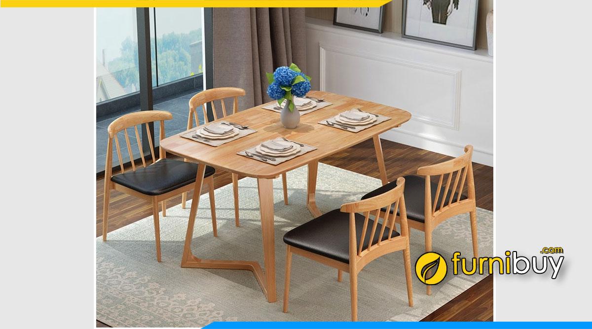 Hình ảnh Bộ bàn ăn 4 ghế Scandinavian nệm da simili