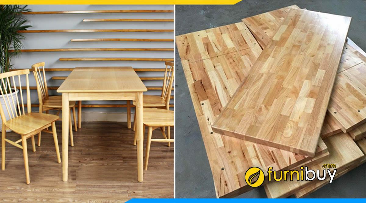 Hình ảnh bộ bàn ăn 4 ghế gỗ cao su giá rẻ