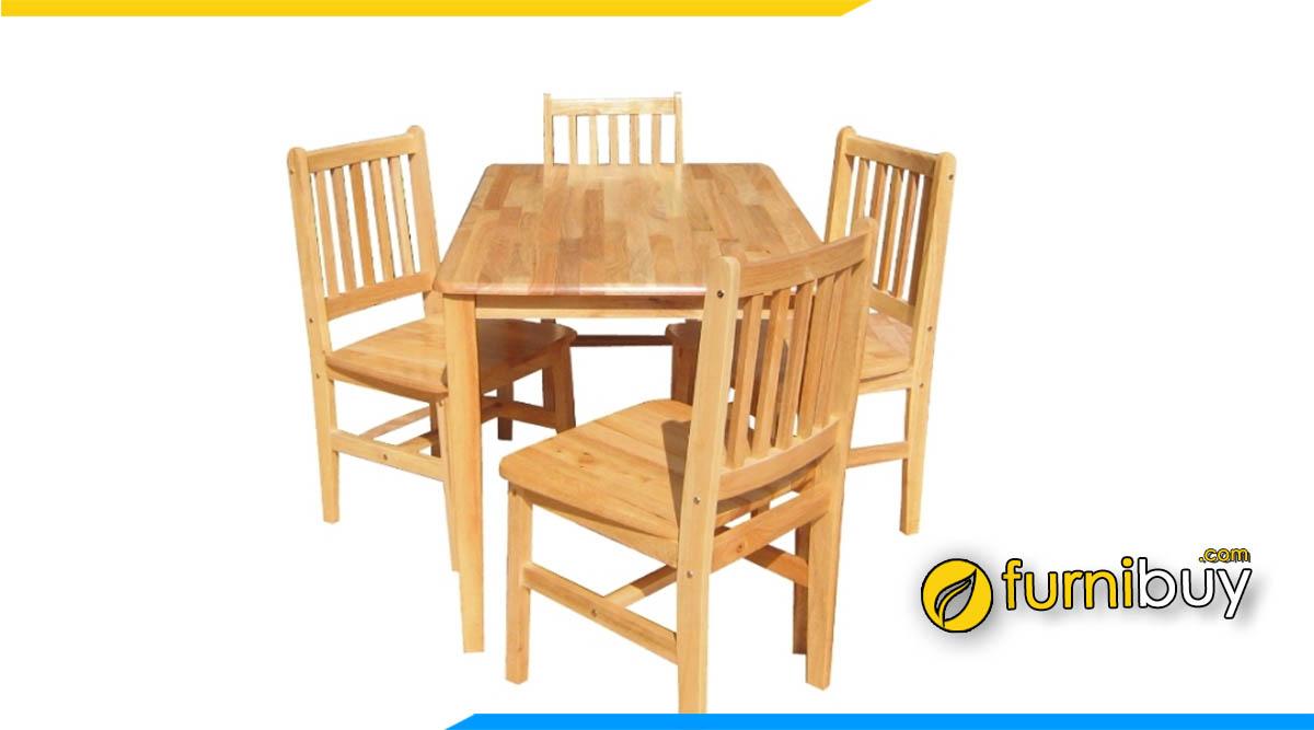 Hình ảnh Bộ bàn ăn 4 ghế gỗ cao su giá rẻ dưới 4 triệu