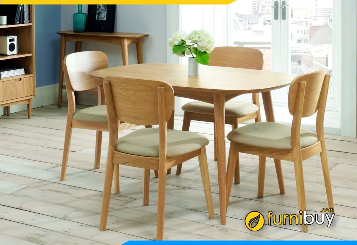 Hình ảnh bộ bàn ăn 4 ghế gỗ cao su nhỏ