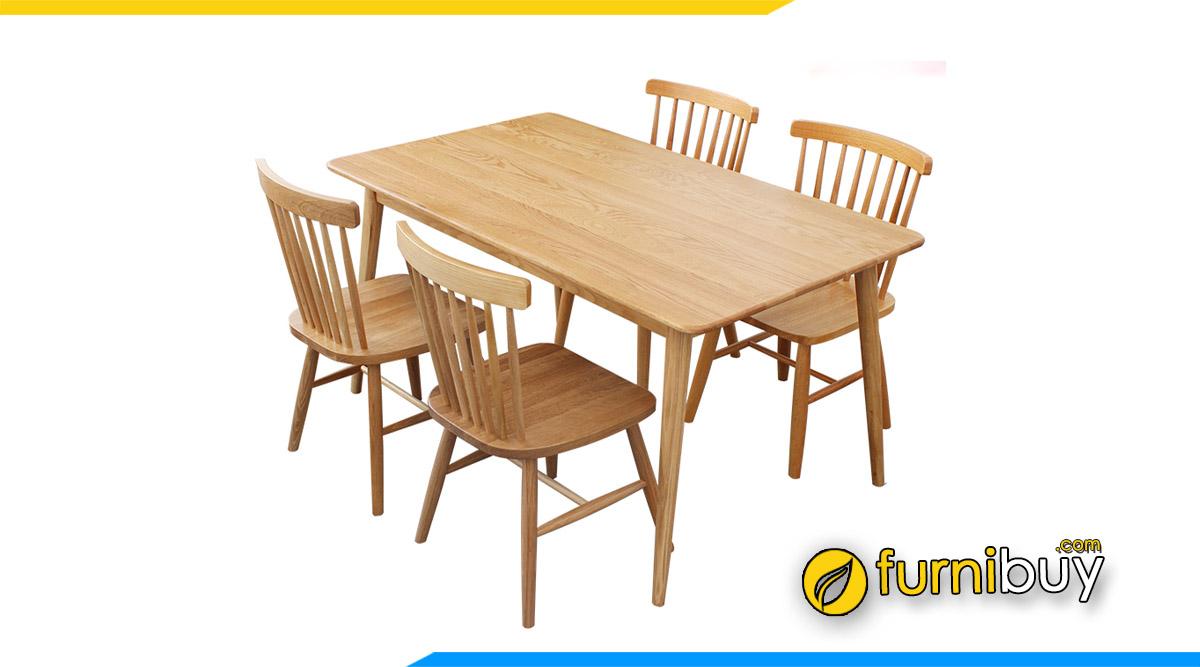 Hình ảnh bộ bàn ăn 4 ghế gỗ cao su quán ăn