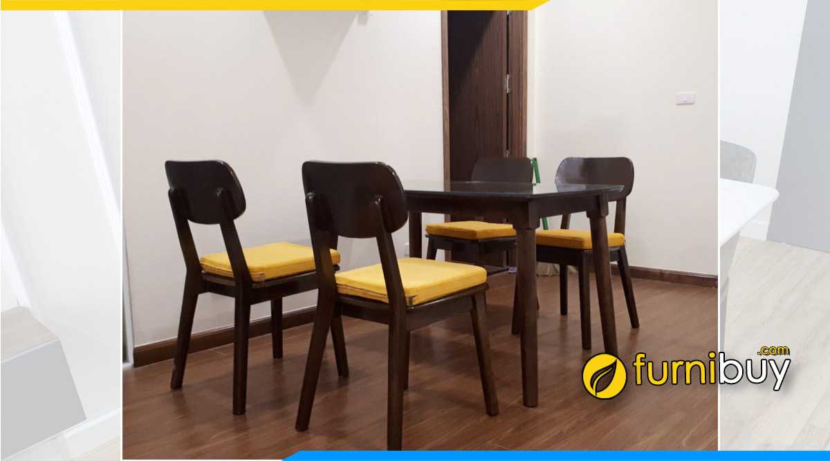 Hình ảnh Bộ bàn ăn 4 ghế gỗ kích thước chuẩn 2021