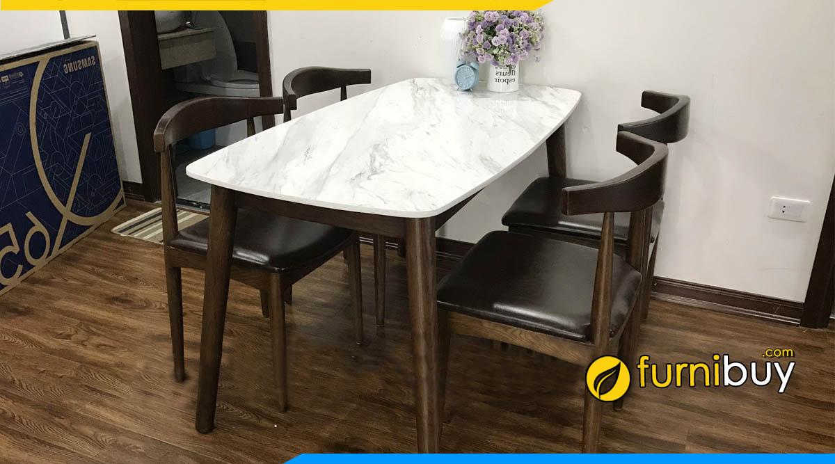 Hình ảnh Bộ bàn ăn 4 ghế gỗ óc chó mặt đá đẹp
