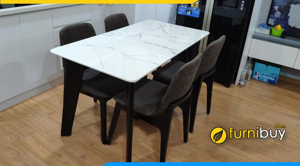 Hình ảnh Bộ bàn ăn 4 ghế gỗ sồi mặt đá chung cư
