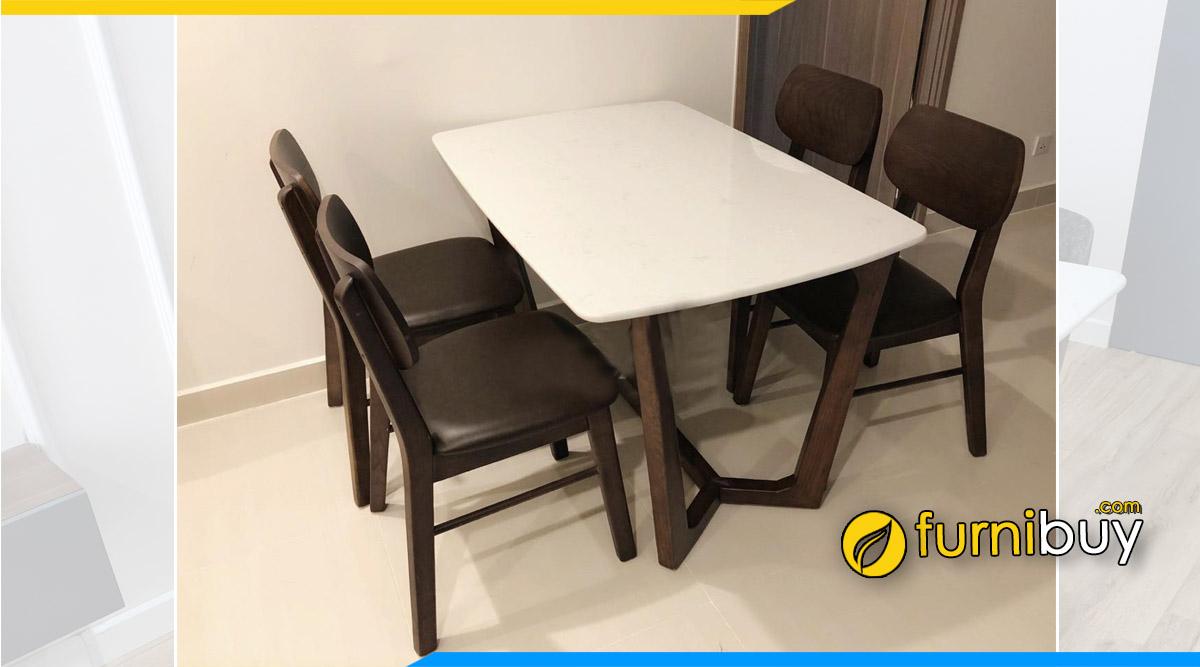 Hình ảnh Bộ bàn ăn 4 ghế gỗ sồi mặt đá màu óc chó