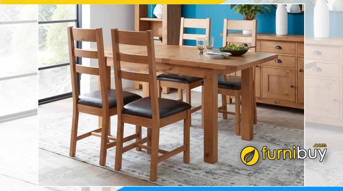 Hình ảnh Bộ bàn ăn 4 ghế gỗ sồi Mỹ nhập khẩu cao cấp