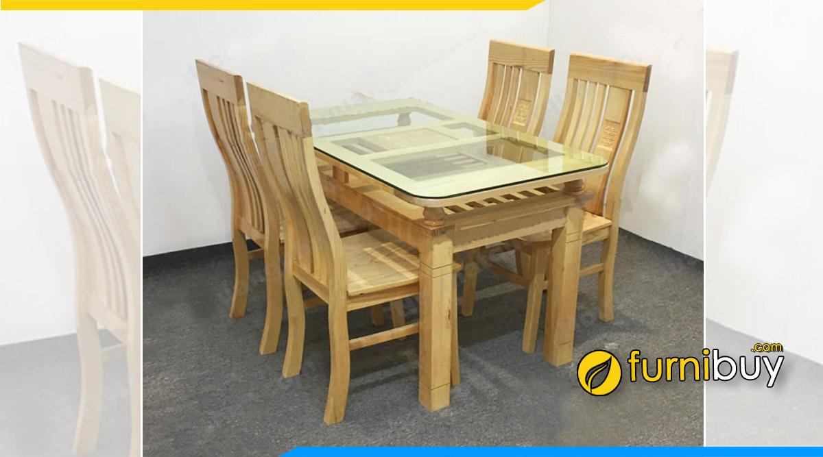 Hình ảnh Bộ bàn ăn 4 ghế gỗ sồi Nga đẹp 2 tầng giá rẻ