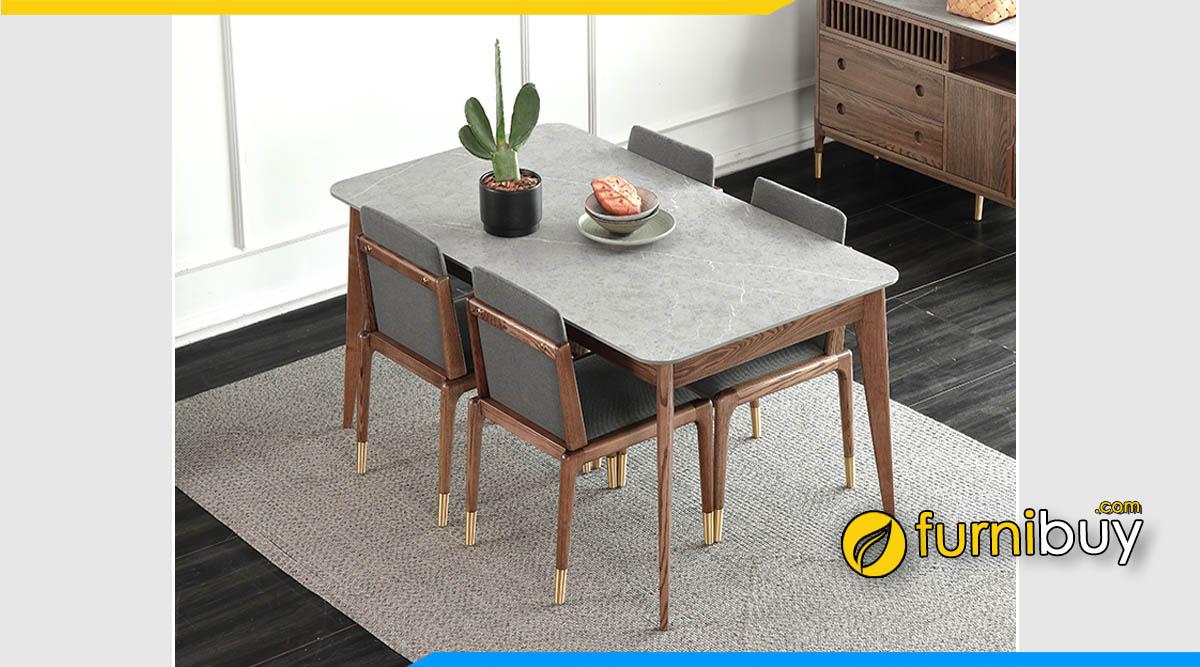 Ảnh bộ bàn ăn 4 ghế hình chữ nhật mặt đá đẹp
