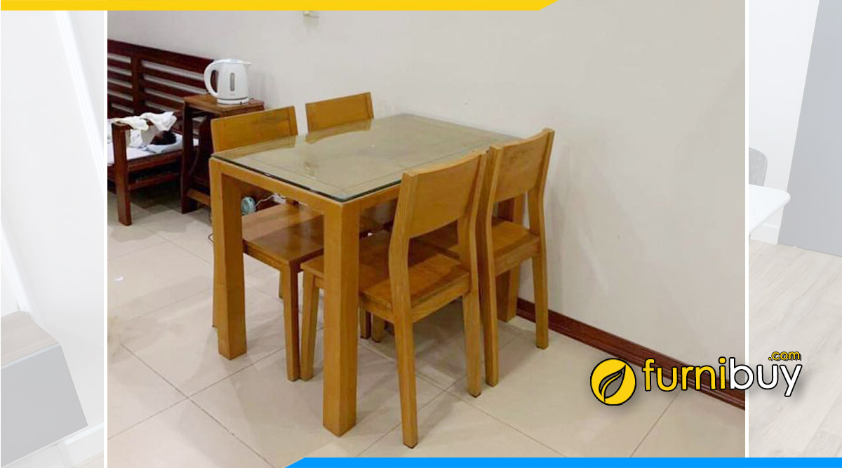 Hình ảnh Bộ bàn ăn 4 ghế mặt gỗ xoan ta đẹp nhà anh Triệu