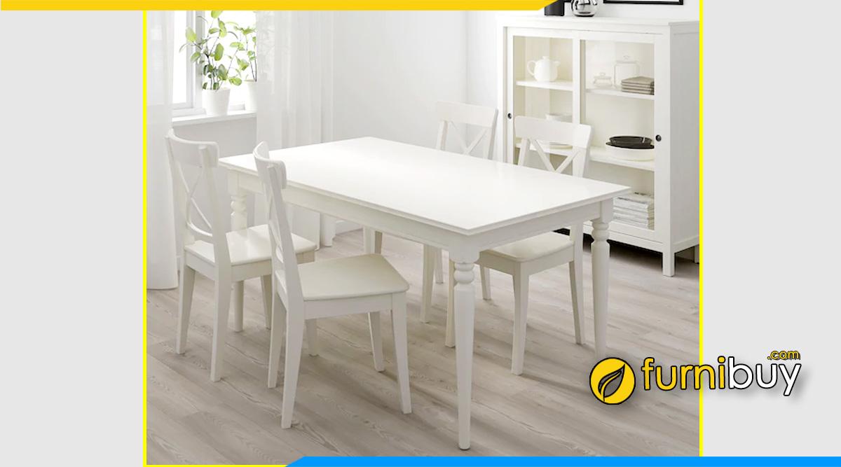 Hình ảnh Bộ bàn ăn 4 ghế màu trắng hình chữ nhật đẹp