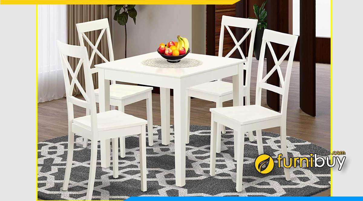 Hình ảnh Bộ bàn ăn 4 ghế màu trắng hình vuông nhỏ đẹp