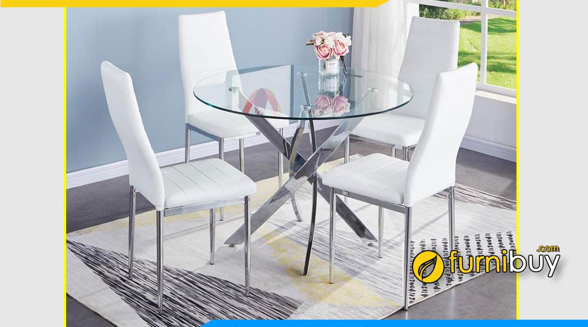 Hình ảnh Bộ bàn ăn 4 ghế màu trắng mặt kính đẹp