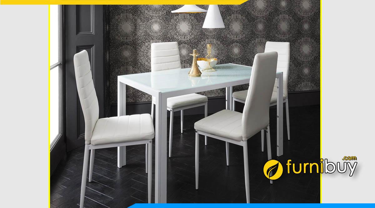 Bộ bàn ăn 4 ghế màu trắng nhập khẩu đẹp