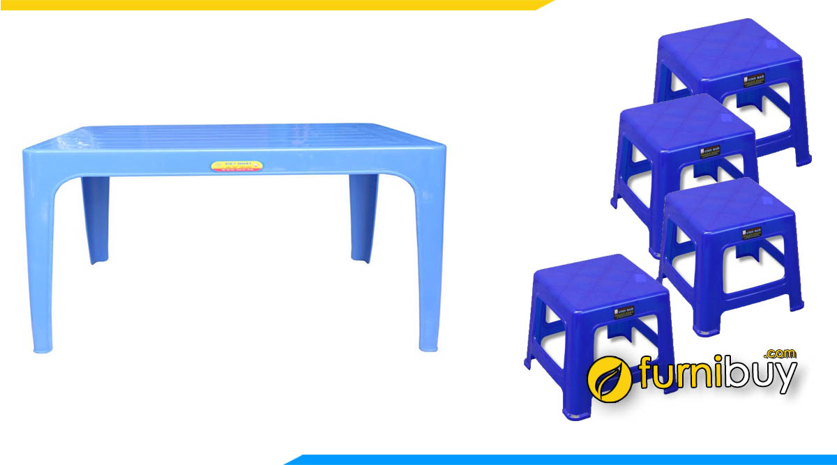 Hình ảnh Bộ bàn ăn 4 ghế nhựa giá rẻ dưới 1 triệu