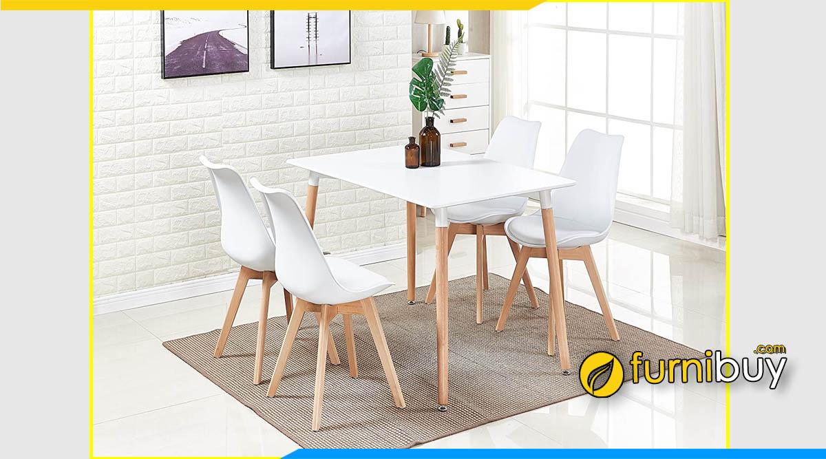 Hình ảnh Bộ bàn ăn 4 ghế nhựa màu trắng giá rẻ