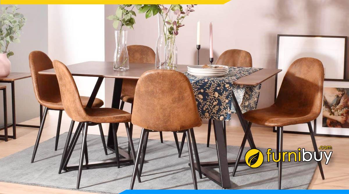 Bộ bàn ăn 6 ghế bọc da bò thật cao cấp