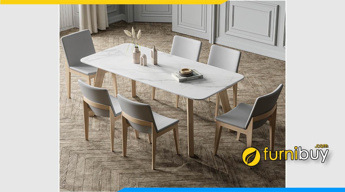 Ảnh bộ bàn ăn 6 ghế hình chữ nhật mặt đá hiện đại