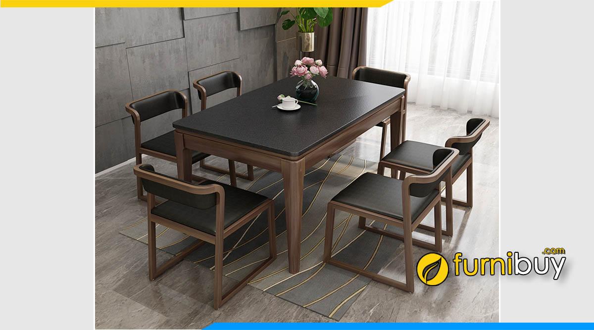Hình ảnh Bộ bàn ăn gỗ 6 ghế cao cấp phong cách Bắc Âu hiện đại