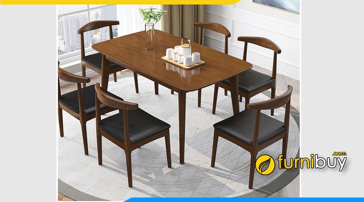 Hình ảnh Bộ bàn ăn Scandinavian 6 ghế đẹp hiện đại nệm da