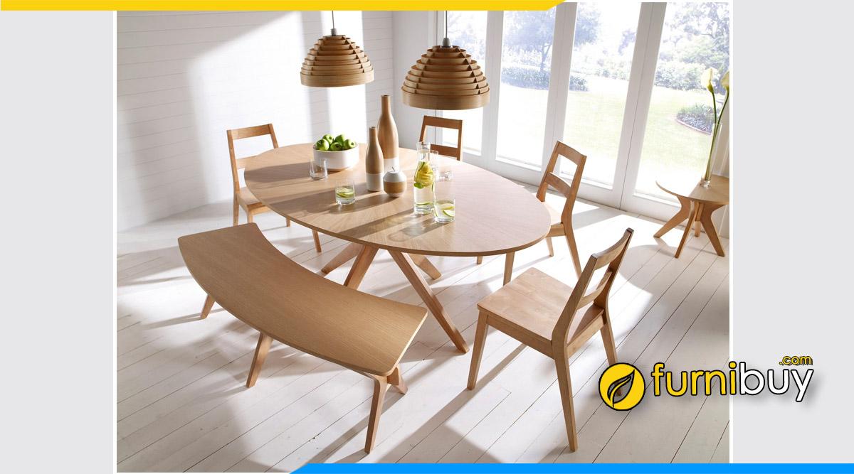 Hình ảnh bộ bàn ăn Scandinavian gỗ tếch bầu dục
