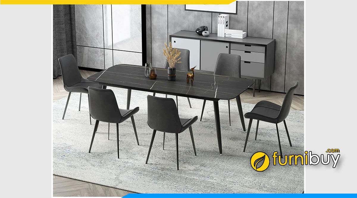 Hình ảnh Bộ bàn ăn Scandinavian mặt đá 6 ghế cao cấp