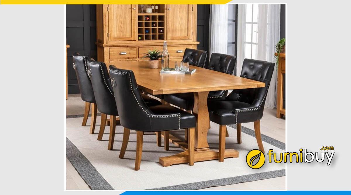Bộ bàn ăn bọc da 6 ghế nhập khẩu cao cấp