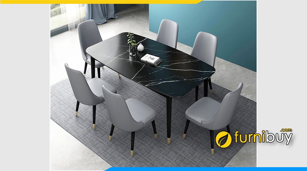 Ảnh bộ bàn ăn hình chữ nhật mặt đá đen đẹp