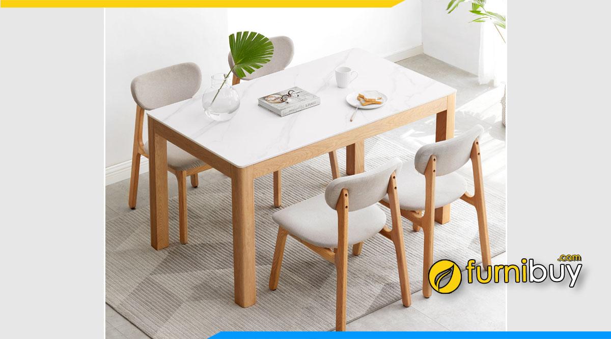 Ảnh bộ bàn ăn hình chữ nhật mặt đá gỗ sồi hiện đại