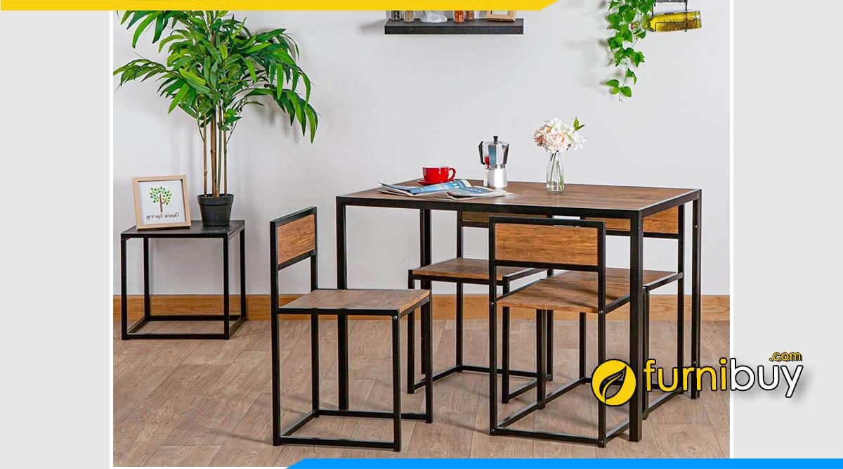 Hình ảnh Bộ bàn ăn giá rẻ 4 ghế dưới 3 triệu gỗ MDF