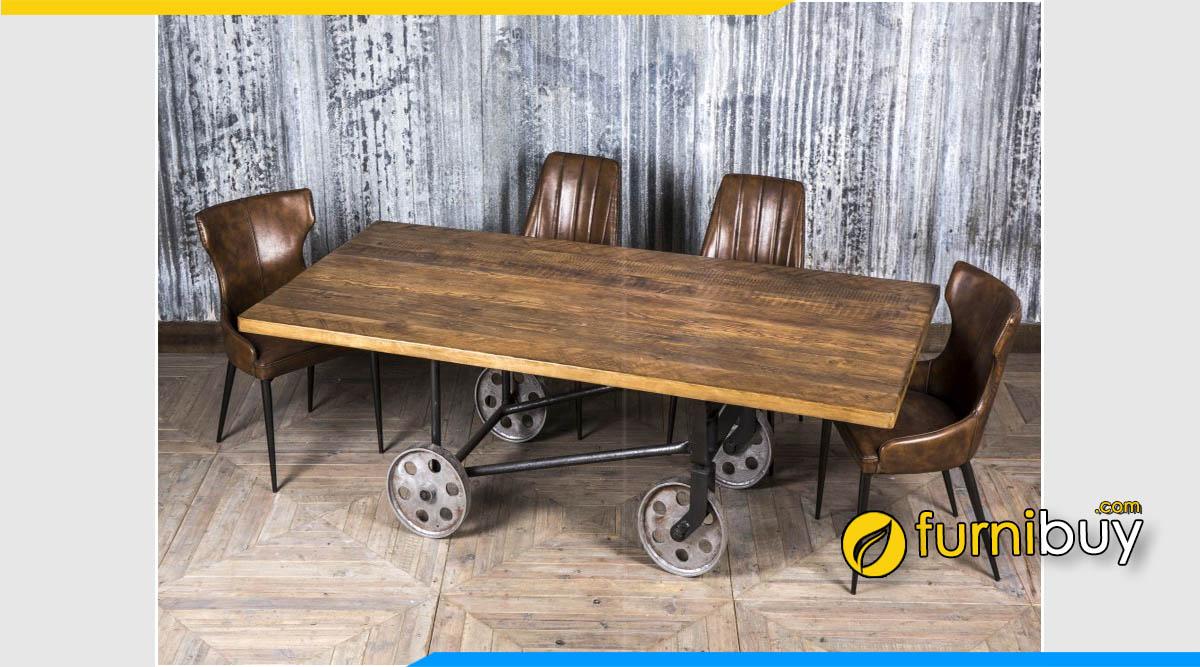 Hình ảnh bộ bàn ăn gỗ Vintage chân sắt có bánh xe đẩy