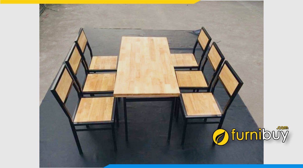 Hình ảnh Bộ bàn ăn gỗ cao su 6 ghế giá rẻ cho quán ăn