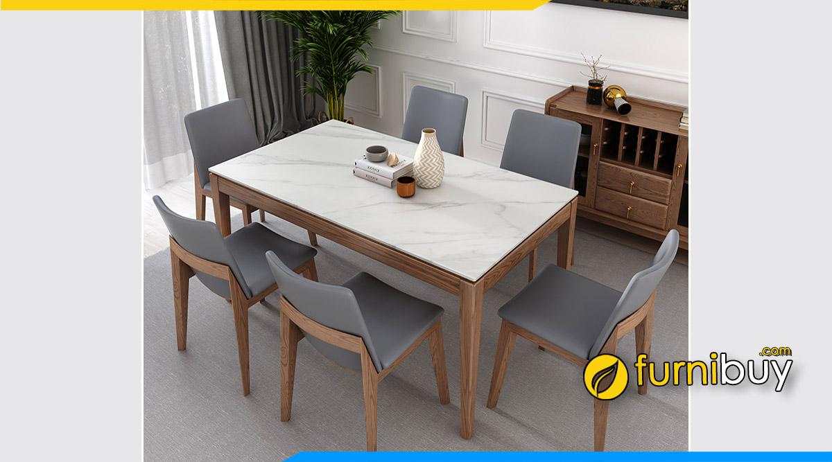 Ảnh Bộ bàn ăn gỗ mặt đá 1m6 đóng theo yêu cầu