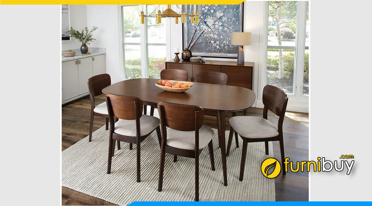 Hình ảnh bàn ăn gỗ sồi Scandinavian 6 ghế đẹp